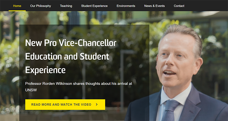 Homepage of UNSW Education site