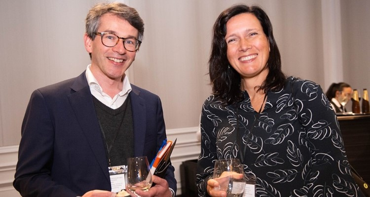 "Associate Professor Ned Ekins-Daukes with collaborator and co-author Professor Angèle Reinders from the University of Twente (NL) at the Digital Grid Futures Institute showcase event on ""Electrifying Transportation"", Aug. 2019."