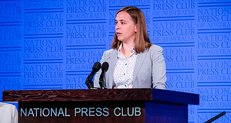 Lisa Harvey-Smith speaking at National Press Club
