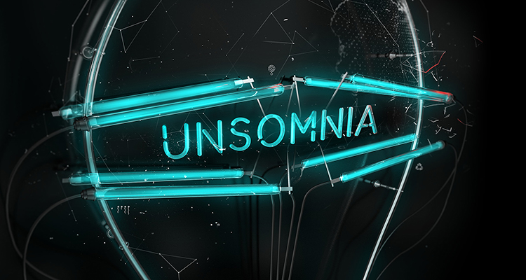 Unsomnia blue graphic text