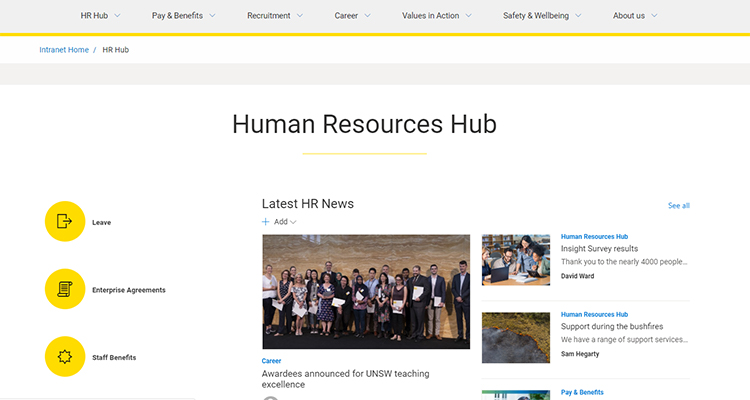The new HR Hub built on SharePoint