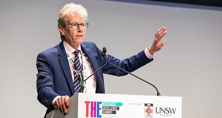 Professor Nicholas Fisk presenting at the Times Higher Education Research Excellence Summit