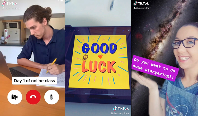 Screenshots from UNSW Sydney's TikTok account