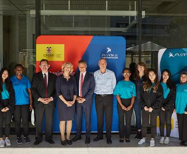 Professor Ian Jacobs, Professor Eileen Baldry and Matt Thistlethwaite with children and the ASPIRE announcement