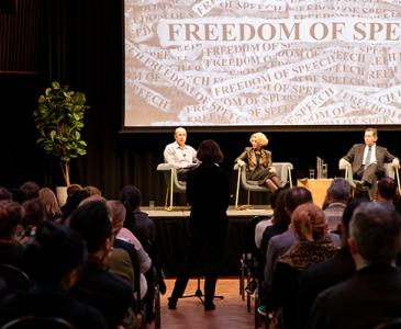 Freedom of Speech panel, George Williams, Eileen Baldry, Ian Jacobs and Rob Brooks