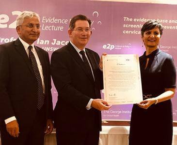 Professor Ian Jacobs with Professor Vivekanand Jha, Executive Director of The George Institute for Global Health India, and the Australia-India High Commissioner, Harinder Sidhu