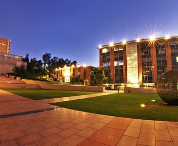 UNSW campus lit up at night
