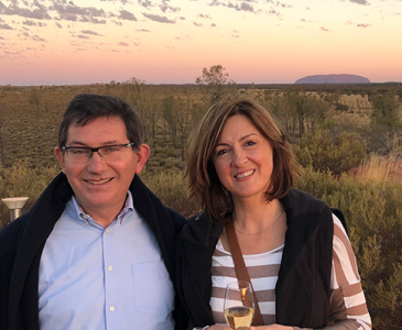 Professor Ian Jacobs and wife Chris at Uluru